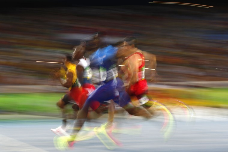 USA's Justin Gatlin competes in the Men's 200m Semifinal during the athletics event at the Rio 2016 Olympic Games at the Olympic Stadium in Rio de Janeiro on August 17, 2016. (Adrian Dennis/AFP/Getty Images)