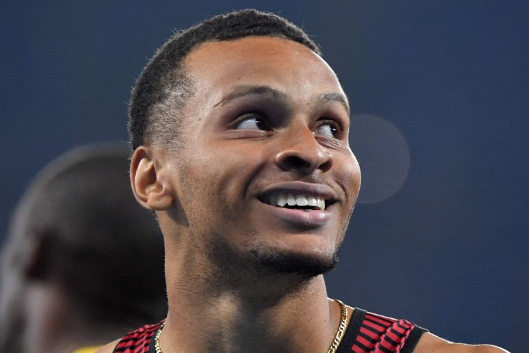 Canada's Andre De Grasse smiels after competing in the Men's 200m Semifinal during the athletics event at the Rio 2016 Olympic Games at the Olympic Stadium in Rio de Janeiro on August 17, 2016. (Olivier Morin/AFP/Getty Images)
