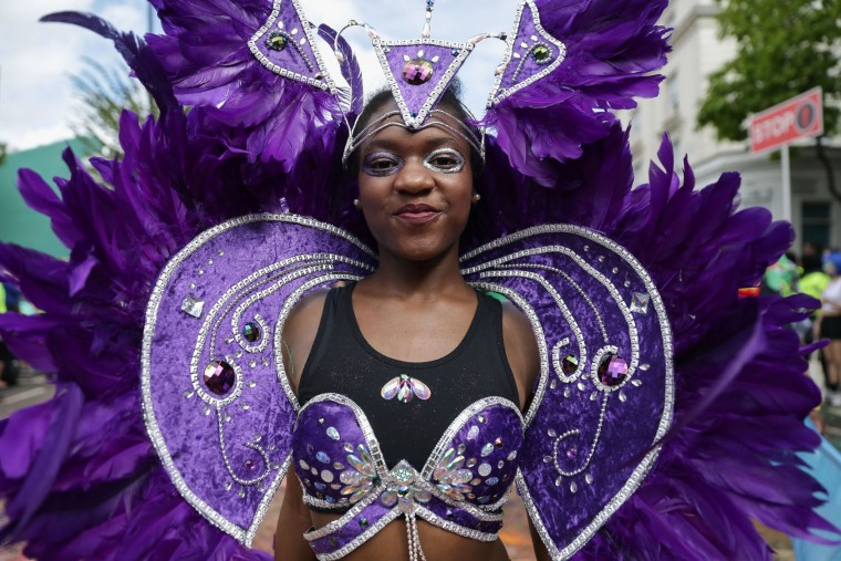 Performers in costume parade on the first day of the Notting Hill Carnival in west London on August 28, 2016. Nearly one million people are expected by the organizers Sunday and Monday in the streets of west London's Notting Hill to celebrate Caribbean culture at a carnival considered the largest street demonstration in Europe. (Daniel Leal-Olivas/AFP/Getty Images)