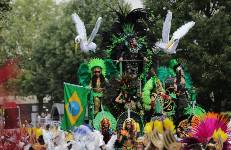Performers march on the second day of the Notting Hill Carnival in west London on August 29, 2016. Nearly one million people are expected by the organizers Sunday and Monday in the streets of west London's Notting Hill to celebrate Caribbean culture at a carnival considered the largest street demonstration in Europe. (Daniel Leal-Olivas/AFP/Getty Images)