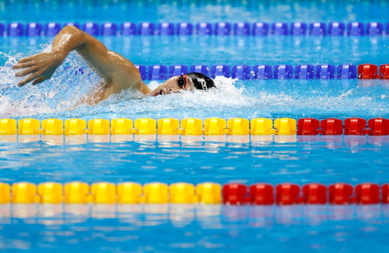 Kosuke Hagino of Japan competes in the first Semifinal of the Men's 200m Individual Medley on Day 5 of the Rio 2016 Olympic Games at the Olympic Aquatics Stadium on August 10, 2016 in Rio de Janeiro, Brazil. (Photo by Clive Rose/Getty Images)