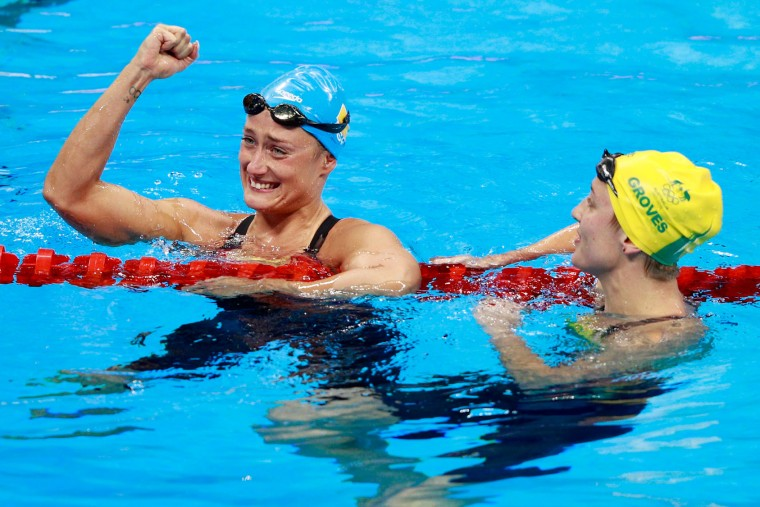Mireia Belmonte Garcia of Spain celebrates winning gold in the Women's 200m Butterfly Final on Day 5 of the Rio 2016 Olympic Games at the Olympic Aquatics Stadium on August 10, 2016 in Rio de Janeiro, Brazil. (Photo by Adam Pretty/Getty Images)