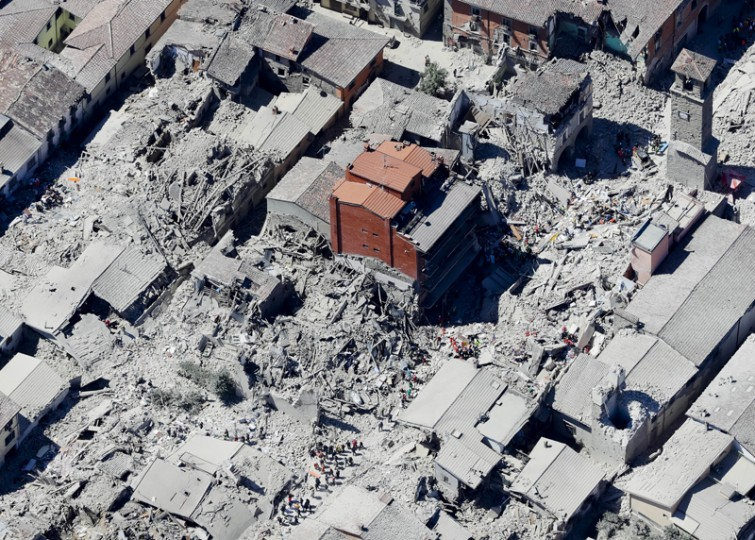 This aerial photo shows the historical part of the town of Amatrice, central Italy, after an earthquake Wednesday. (Gregorio Borgia/AP)