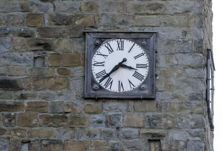 A clock is stopped between half past three and quarter 'til four, the time an earthquake struck central Italy on Wednesday morning. (Massimo Percossi/ANSA via AP)