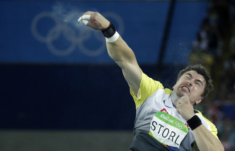 Germany's David Storl makes an attempt in the men's shot put final during the athletics competitions of the 2016 Summer Olympics at the Olympic stadium in Rio de Janeiro, Brazil, Thursday, Aug. 18, 2016. (AP Photo/Matt Dunham)