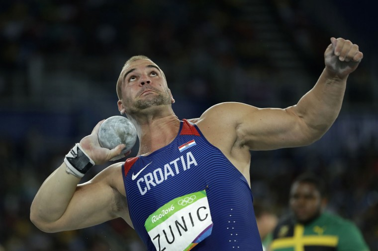 Croatia's Stipe Zunic makes an attempt in the men's shot put final during the athletics competitions of the 2016 Summer Olympics at the Olympic stadium in Rio de Janeiro, Brazil, Thursday, Aug. 18, 2016. (AP Photo/Matt Slocum)