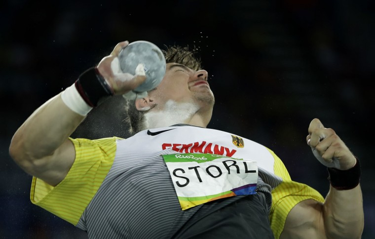 Germany's David Storl makes an attempt in the men's shot put final during the athletics competitions of the 2016 Summer Olympics at the Olympic stadium in Rio de Janeiro, Brazil, Thursday, Aug. 18, 2016. (AP Photo/Matt Slocum)
