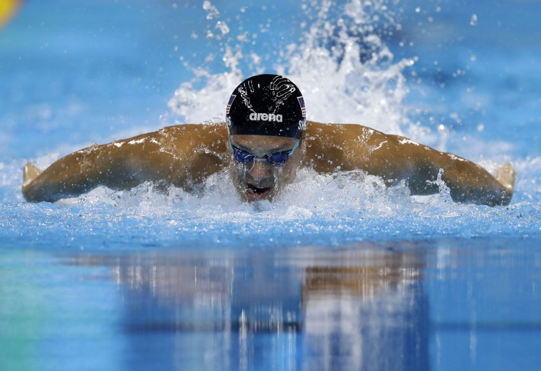 United States' Tom Shields competes in a men's 100-meter butterfly semifinal during the swimming competitions at the 2016 Summer Olympics, Thursday, Aug. 11, 2016, in Rio de Janeiro, Brazil. (AP Photo/Michael Sohn)