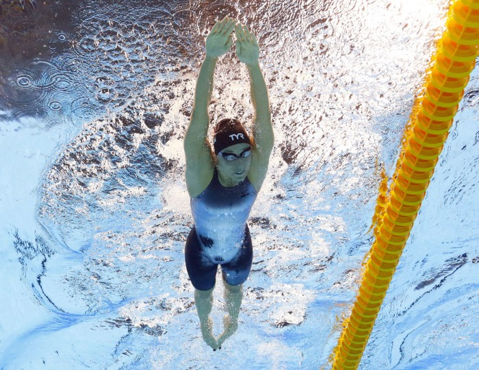 Denmark's Rikke Moller Pedersen competes in a semifinal of the women's 200-meter breaststroke during the swimming competitions at the 2016 Summer Olympics in Rio de Janeiro, Brazil, Wednesday, Aug. 10, 2016. (AP Photo/David J. Phillip)