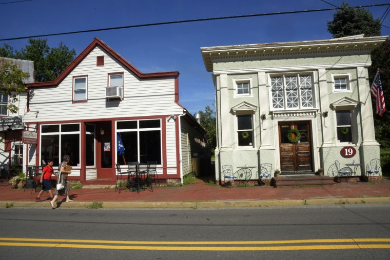 At right is Stevensville Bank of Queen Anne's County which is currently leased to a calligraphy business. The bank, which first operated in 1909, is on the National Register of Historic Places and is one of the oldest banks in the county. (Algerina Perna/Baltimore Sun)