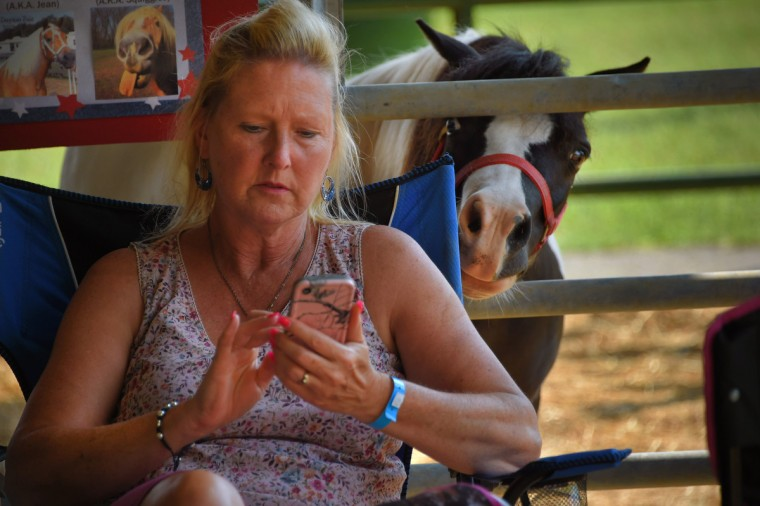 Dandy, a miniature horse, peers over the shoulder  of Vivian Davis of Pylesville during the annual Harford County Farm Fair. (Karl Merton Ferron / Baltimore Sun)