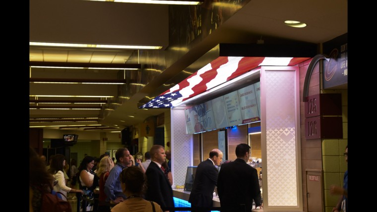 Hungry convention-goers line up on June 19 at the GOP Bistro.