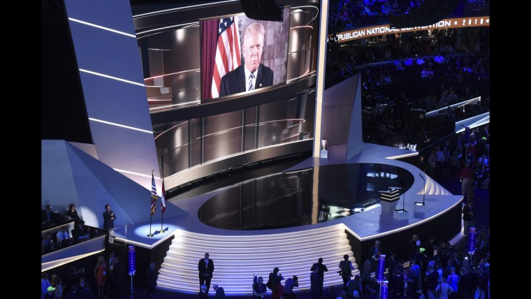 Presidential nominee Donald Trump addresses the crowd via satellite on June 19 at the Republican National Convention.