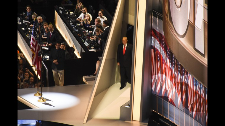 Presidential nominee Donald Trump waits in the wings on June 21 at the Republican National Convention.