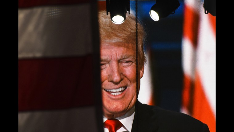 Republican presidential nominee Donald Trump speaks to the crowd on June 21 after he accepted his party's nomination.