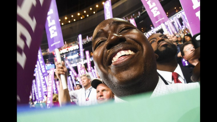 A delegate reacts to First Lady Michelle Obama's speech at the Democratic National Convention on June 25.