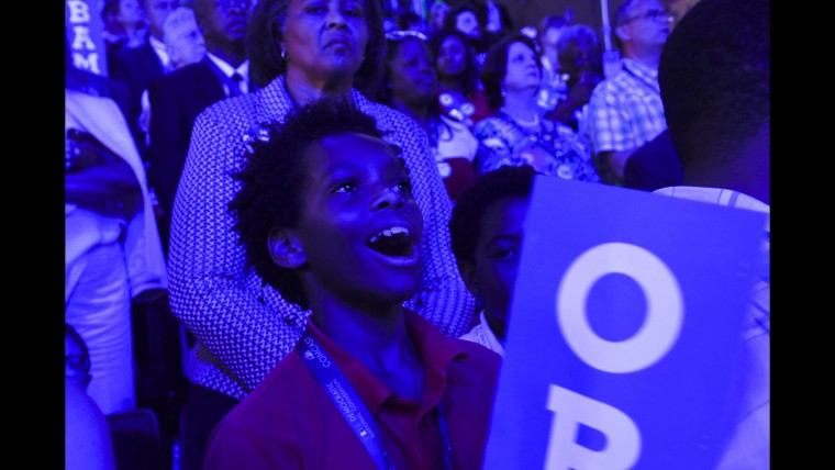 A young boy reacts as President Barack Obama takes the stage at the Democratic National Convention on June 27.