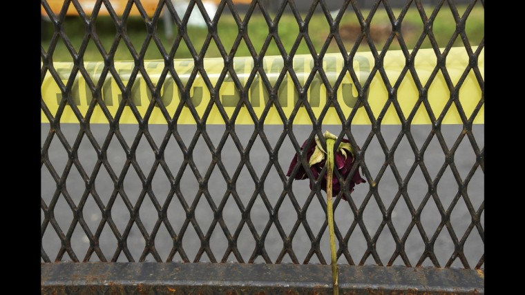 A rose is left behind crime scene tape at the Wells Fargo Arena where four protesters were arrested at the Democratic National Convention on June 28.