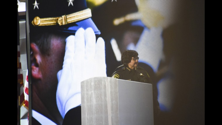 Dallas Sheriff Lupe Valdez addresses the crowd at the Democratic National Convention June 28.