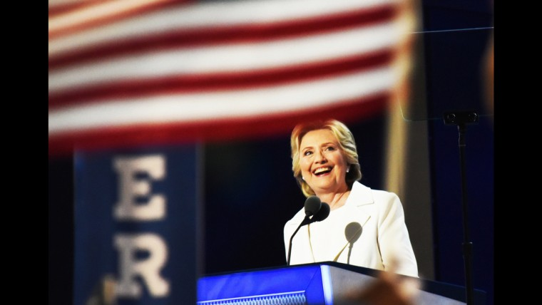 Hillary Clinton accepts the nomination at the Democratic National Convention on June 28.