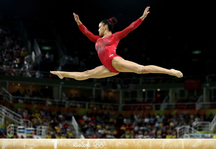 Laurie Hernandez of the United States competes in the Balance Beam Final on day 10 of the Rio 2016 Olympic Games at Rio Olympic Arena on August 15, 2016 in Rio de Janeiro, Brazil. (Photo by Lars Baron/Getty Images)