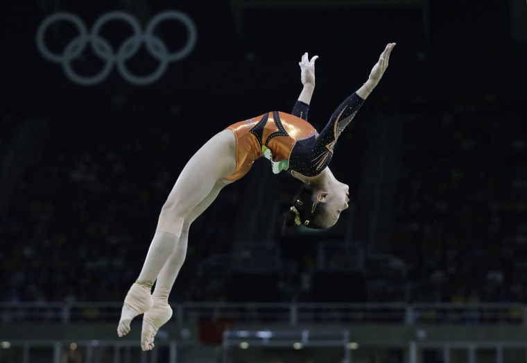 China's Fan Yilin performs on the balance beam during the artistic gymnastics women's apparatus final at the 2016 Summer Olympics in Rio de Janeiro, Brazil, Monday, Aug. 15, 2016. (AP Photo/Rebecca Blackwell)