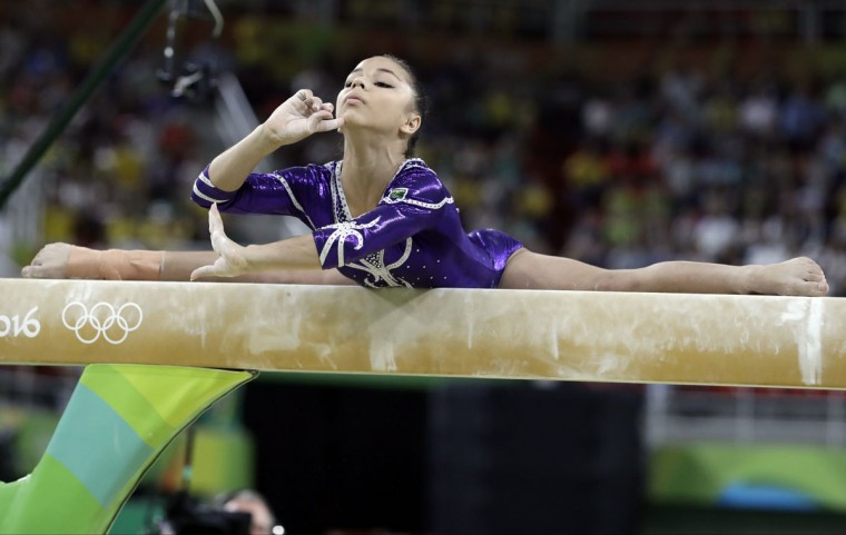 Brazil's Flavia Saraiva performs on the balance beam during the artistic gymnastics women's apparatus final at the 2016 Summer Olympics in Rio de Janeiro, Brazil, Monday, Aug. 15, 2016. (AP Photo/Rebecca Blackwell)