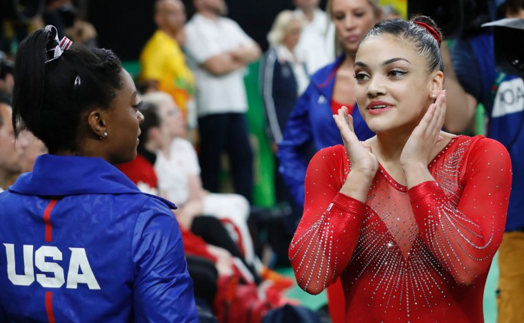 US gymnast Lauren Hernandez reacts after competing in the women's balance beam event final of the Artistic Gymnastics at the Olympic Arena during the Rio 2016 Olympic Games in Rio de Janeiro on August 15, 2016. (THOMAS COEX/AFP/Getty Images)