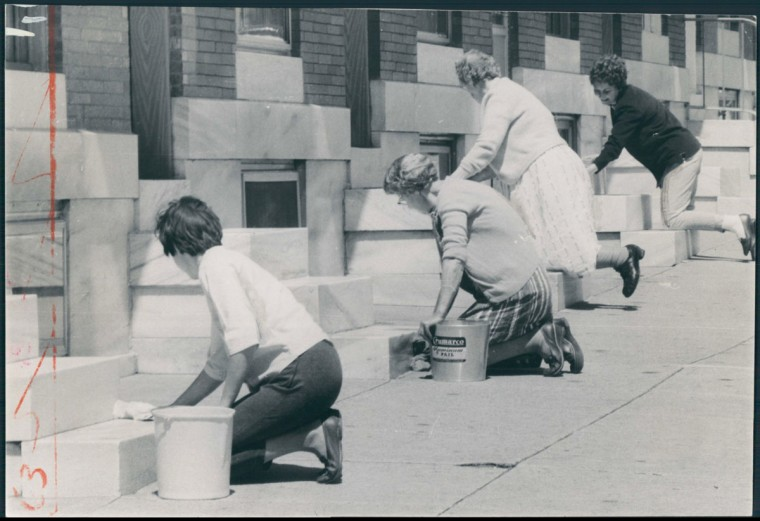 """A Friday Afternoon In East Baltimore"" Left to Right: Mrs. Joyce Dunningan, Mrs. Carrie Dent, Mrs. Hilda Schwamb, Mrs. Robert Bailey. 700 S. Linwood Avenue. (Diaola/Baltimore Sun)"