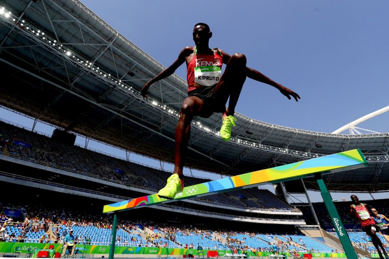 Conseslus Kipruto of Kenya competes in the Men's 3000m Steeplechase Final on Day 12 of the Rio 2016 Olympic Games at the Olympic Stadium on August 17, 2016 in Rio de Janeiro, Brazil.  (Photo by Alexander Hassenstein/Getty Images)
