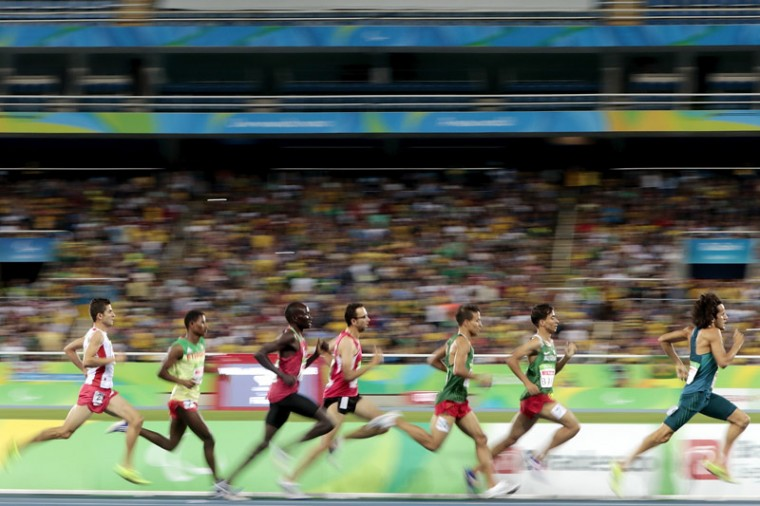 Athletes compete at the Menâs 1500m - T13 Final during day four of the Rio 2016 Paralympic Games at the Olympic Stadium on Sunday in Rio de Janeiro, Brazil. (Alexandre Loureiro/Getty Images)