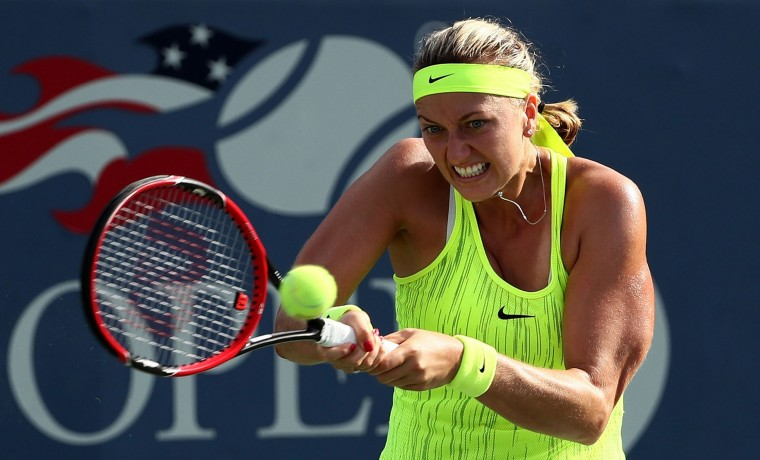 Petra Kvitova of the Czech Republic returns a shot to Elina Svitolina of the Ukraine during her third round Women's Singles match on Day Five of the 2016 US Open at the USTA Billie Jean King National Tennis Center on September 2, 2016 in the Flushing neighborhood of the Queens borough of New York City. (Photo by Al Bello/Getty Images)