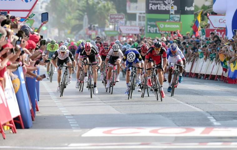 "BMC Racing Team's Luxembourgian cyclist Jean-Pierre Drucker (2nd R) sprints to win the 16th stage of the 71st edition of ""La Vuelta"" Tour of Spain, a 158km route Alcaniz to Peniscola, on September 5, 2016. (Jose Jordan/AFP/Getty Images)"