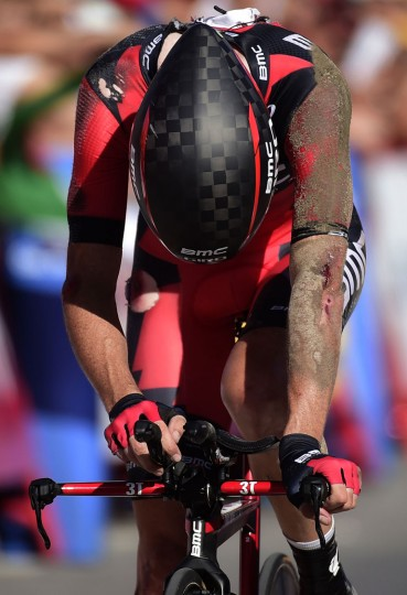 "BMC Racing's cyclist Samuel Sanchez crosses the finish line during the 19th stage of the 71st edition of ""La Vuelta"" Tour of Spain, a 39km individual time-trial between Javea and Calpe on September 9, 2016. (Jose Jordan/AFP/Getty Images)"