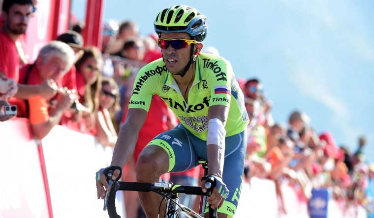 "Tinkoff's Spanish cyclist Alberto Contador crosses the finish line during the 14th stage of the 71st edition of ""La Vuelta"" Tour of Spain, a 195.6km route between Urdax to Aubisque, on September 3, 2016. (Jose Jordan/AFP/Getty Images)"