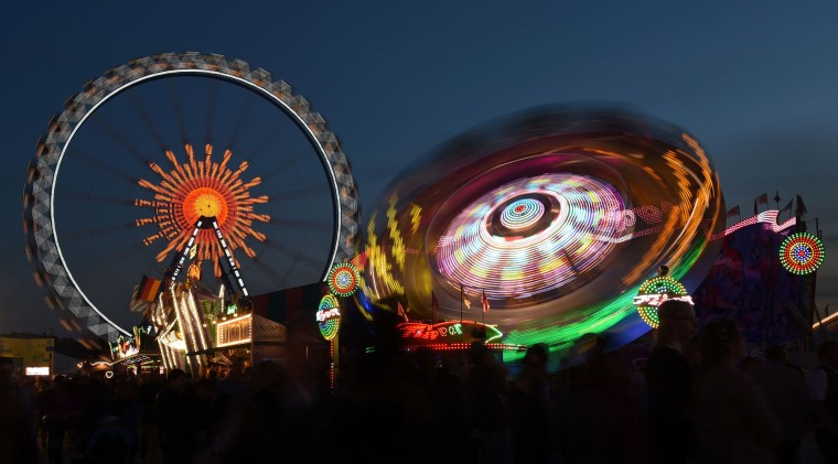 A photo shows the ferris wheel at the Theresienwiese Oktoberfest fair grounds in Munich, southern Germany, on September 22, 2016. Oktoberfest, the world's biggest beer festival, runs until October 3, 2016. (Christof Stache/AFP/Getty Images)