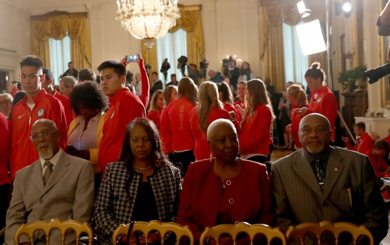 WASHINGTON, DC - SEPTEMBER 29: John Carlos, left, and Tommie Smith, right, 1968 U.S. Olympians, attend an East Room event at the White House September 29, 2016 in Washington, DC. President Obama and first lady Michelle Obama welcome the 2016 U.S. Olympic and Paralympic teams to the White House to honor their participation and success in the Rio Olympic Games this year. (Photo by Elsa/Getty Images)