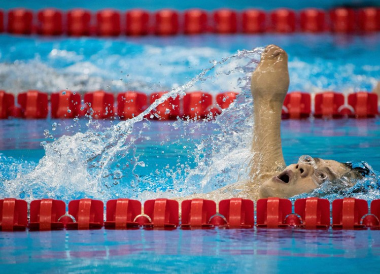 China's Hongguang Jia wins Heat 1 of the Men's 200m Individual Medley - SM6 at the Olympic Aquatics Stadium during the Paralympic Games in Rio de Janeiro, Brazil, on Monday. (Photo by Al Tielemans for OIS/IOC via AFP)