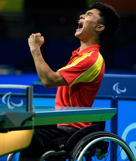 China's Ningning Cao plays against Germany's Valentin Baus in their Men's Singles - Class 5 Gold Medal table tennis match during the Paralympic Games in Rio de Janeiro, Brazil, on Monday. (Thomas Lovelock for OIS/IOC via AFP)
