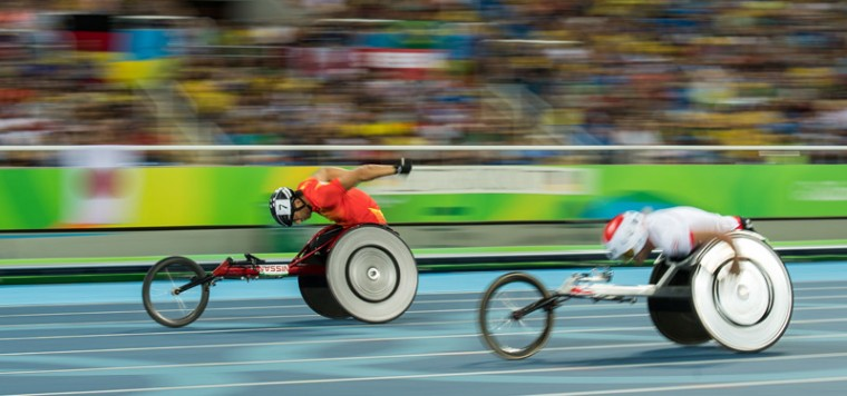 Handout image supplied by OIS/IOC showing China's Liu Chengming competing in the Men's 400m - T54 Round  in the Olympic Stadium, during the Paralympic Games, in Rio de Janeiro, Brazil, on Sunday. (Thomas Lovelock for OIS/IOC via AFP)