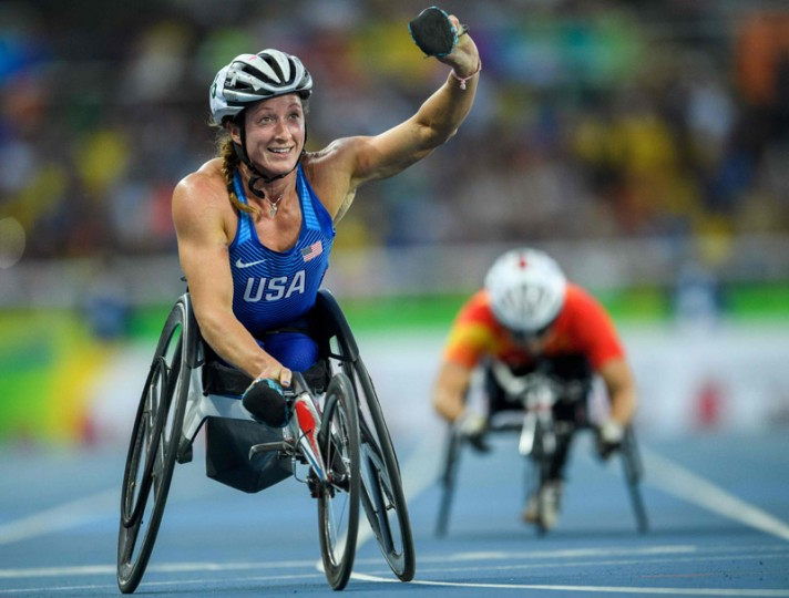 Handout image supplied by OIS/IOC showing Clarksville's Tatyana McFadden of the United States winning the Gold medal in the Women's 400m - T54 Final in the Olympic Stadium, during the Paralympic Games, in Rio de Janeiro, Brazil, on Sunday. (Bob Martin for OISBOB MARTIN FOR OIS/AFP/Getty Images)
