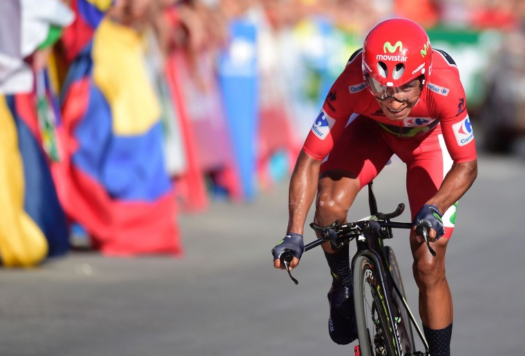 "Movistar's Colombian cyclist Nairo Quintana rides to the finish line during the 19th stage of the 71st edition of ""La Vuelta"" Tour of Spain, a 39km individual time-trial between Javea and Calpe on September 9, 2016. (Jose Jordan/AFP/Getty Images)"