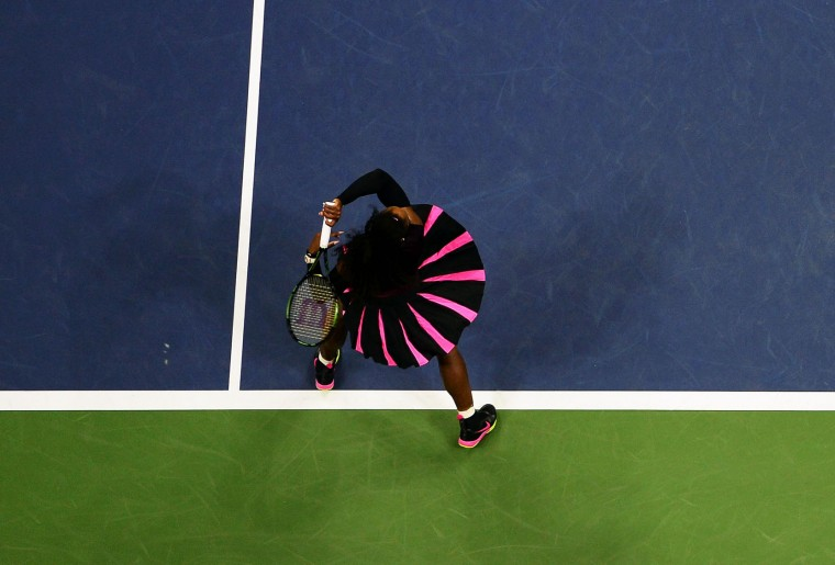 Serena Williams of the US hits a return against Vania King of the US during their 2016 US Open Womens Singles match at the USTA Billie Jean King National Tennis Center in New York on September 1, 2016.(Jewel Samad/AFP/Getty Images)