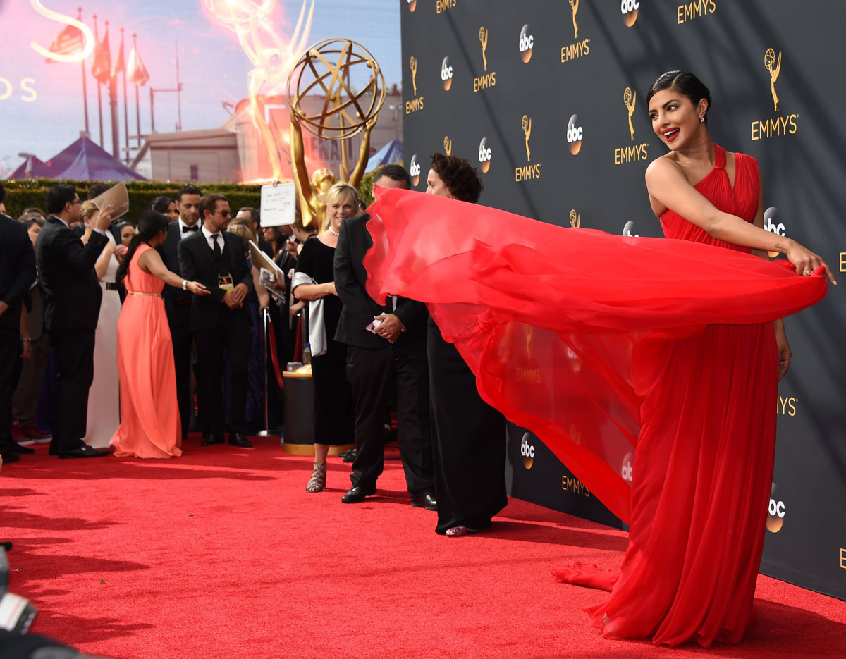 On the red carpet at the 2016 Emmys