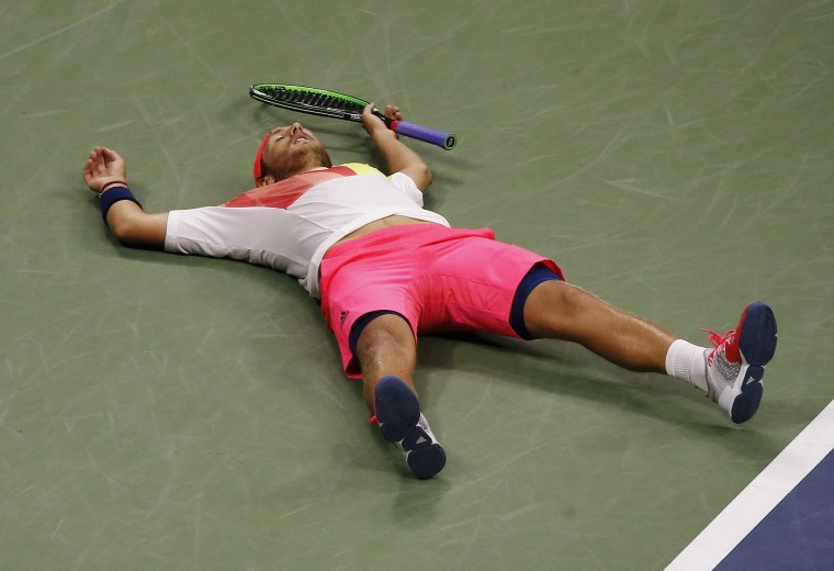 Lucas Pouille, of France, reacts after beating Rafael Nadal, of Spain, during the fourth round of the U.S. Open tennis tournament, Sunday, Sept. 4, 2016, in New York. (AP Photo/Andres Kudacki)