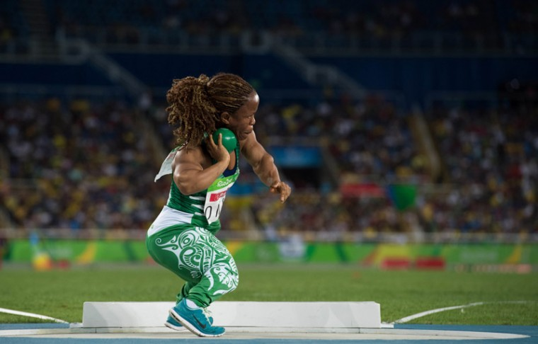 In this photo released by the IOC, Nigeria's Lauritta Onye competes to win the gold in the women's shot put F40 athletics event at the Paralympic Games in Rio de Janeiro, Brazil, on Sunday. (Thomas Lovelock/OIS,IOC via AP)