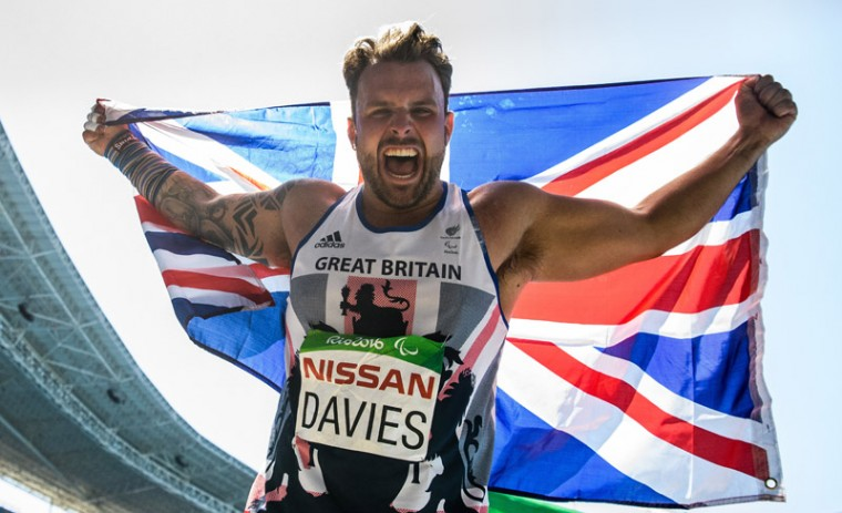 In this photo released by the IOC, Great Britain's Aled Davies celebrates after winning the gold medal  in the Men's Shot Put - F42 final  at the Paralympic Games in Rio de Janeiro, Brazil, on Sunday. (Bob Martin/OIS,IOC via AP)