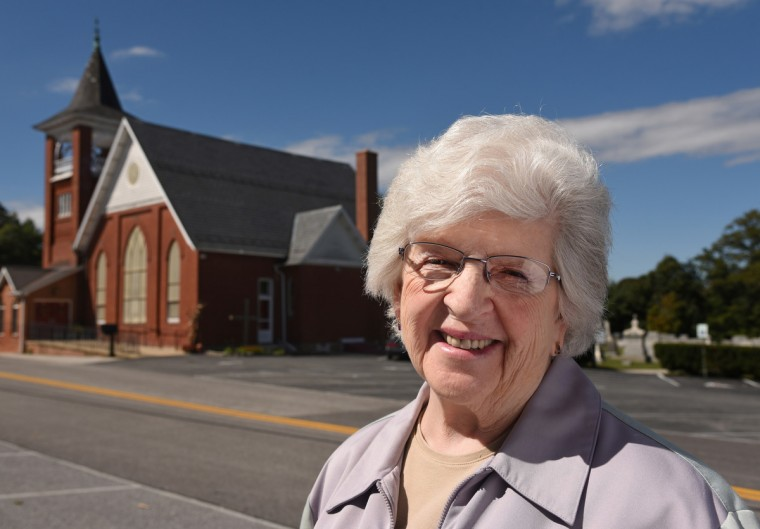 "Janet Bushie, 76,has been active in the West Liberty United Methodist Church for more than fifty years. ""I think our election is really important, Bushie said, adding that ""I'm not really happy with either, to be truthful.""  (Amy Davis/Baltimore Sun)"
