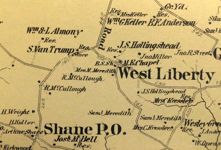 Detail from the 1877 Atlas of Baltimore County, by G.M. Hopkins, C.E. The upper left corner shows the area known as Trump, adjacent to Old York Road at West Liberty Road. Van Trump's residence and store were on the west side of Old York Road, just south of West Liberty Road. Courtesy of the Maryland Historical Society. (Amy Davis/Baltimore Sun)