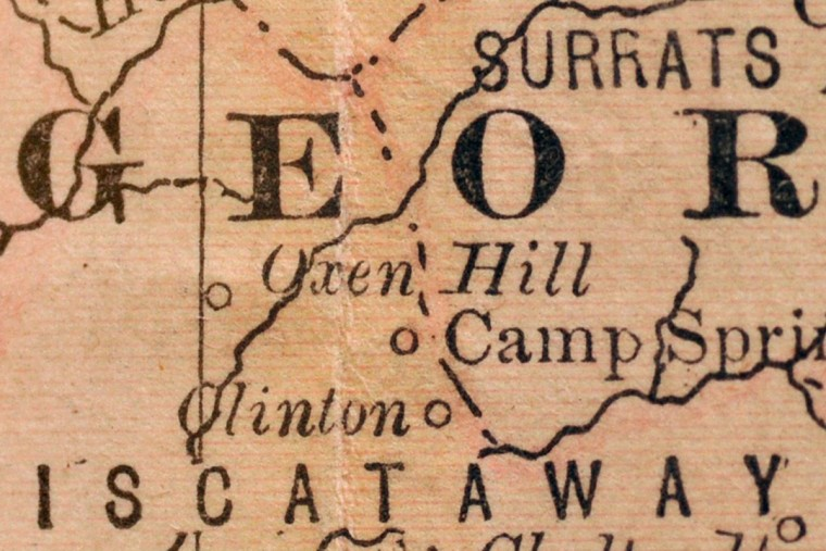 Detail of Clinton, in Prince George's County, from an 1882 Rand, McNally & Company's Atlas. Clinton is in the lower left corner, and its former name, Surrattsville, lives on in an area at the upper right of this detail, called Surrats. Courtesy of the Enoch Pratt Free LIbrary,  Maryland's State Library Resource Center. (Amy Davis/Baltimore Sun)